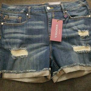 Premium denim ripped shorts